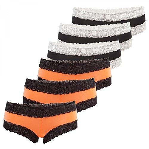 Culotte de Fabio Farini. En paquete de 6. BRAGAS Con seductores detalles de encaje 3 naranja 3 negro