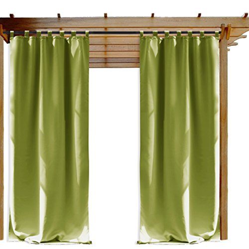 NICETOWN Outdoor Drape and Curtain for Pergola, Window Treatment Energy Saving Thermal Insulated Indoor Outdoor Blackout Curtain with Tab Top for Living Room (1 Piece, 52 by 108-Inch, Fresh Green) ()
