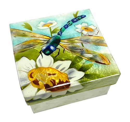 Kubla Craft Blue Dragonfly and Flowers Capiz Shell Keepsake Box, 3 Inches Square