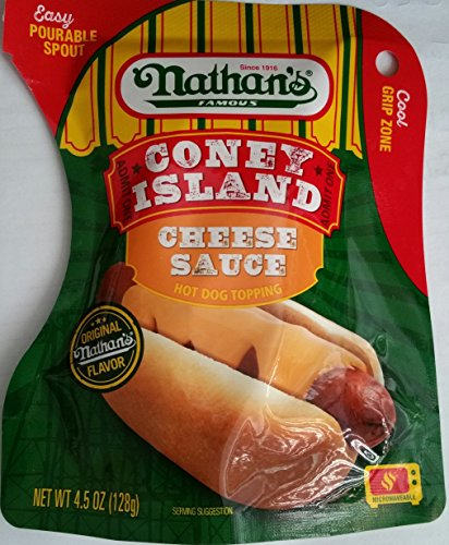 Nathans Snack - Nathan`s FamousCONEY ISLAND CHEESE SAUCE Hot Dog Topping Easy Pourable Spout (1-PACKAGE NET WT 4.5 OZ)
