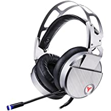 iBesi Gaming Headset, PC Game Headphones PlayStation USB Surround Sound 7.1 Vibrating Headphones Noise Isolating with Microphone LED Light (Sliver)