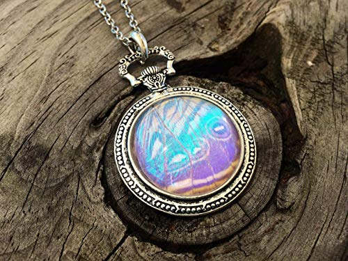 Real Pearl Morpho Butterfly Wing Pocketwatch Style Pendant Necklace - White Opal October Birthstone