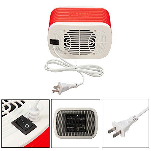 Space Heaters Mini For Warm Winter 220v 500w Rapid Heating Body Material Was Abs Non-slip Feet On Bottom Stable (Red)