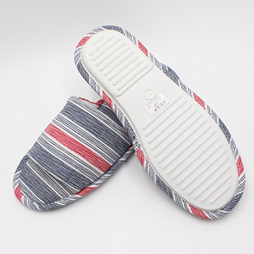 Mens Slippers Open Slippers Memory Foam Cotton Linen Ofoot House Summery Coronet Blue Comfy Toe nRHqcI