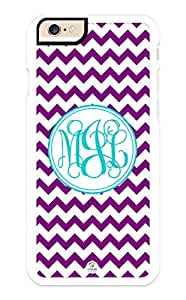iZERCASE iPhone 6 Case Monogram Personalized Purple and White Chevron Pattern RUBBER CASE - Fits iPhone 6 T-Mobile, AT&T, Sprint, Verizon and International (White) by supermalls