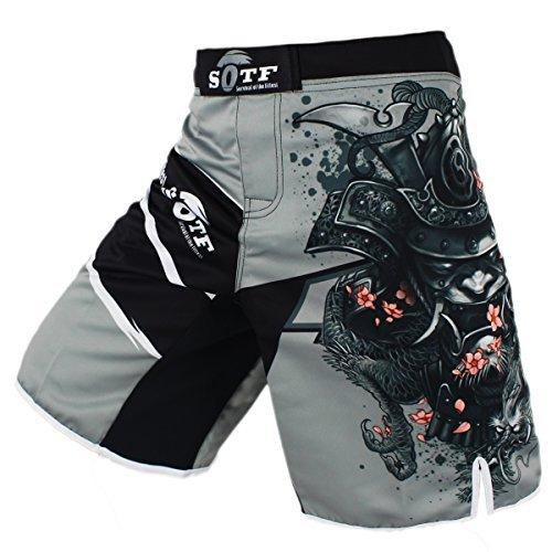 SOTF Men's Gray Sports Pants Tiger Muay Thai Boxing Shorts MMA Shorts (XXL)