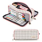 ANGOOBABY Large Pencil Case Big Capacity 3 Compartments Canvas Pencil Pouch for Teen Boys Girls School Students (Pink Strip Black Grid): more info
