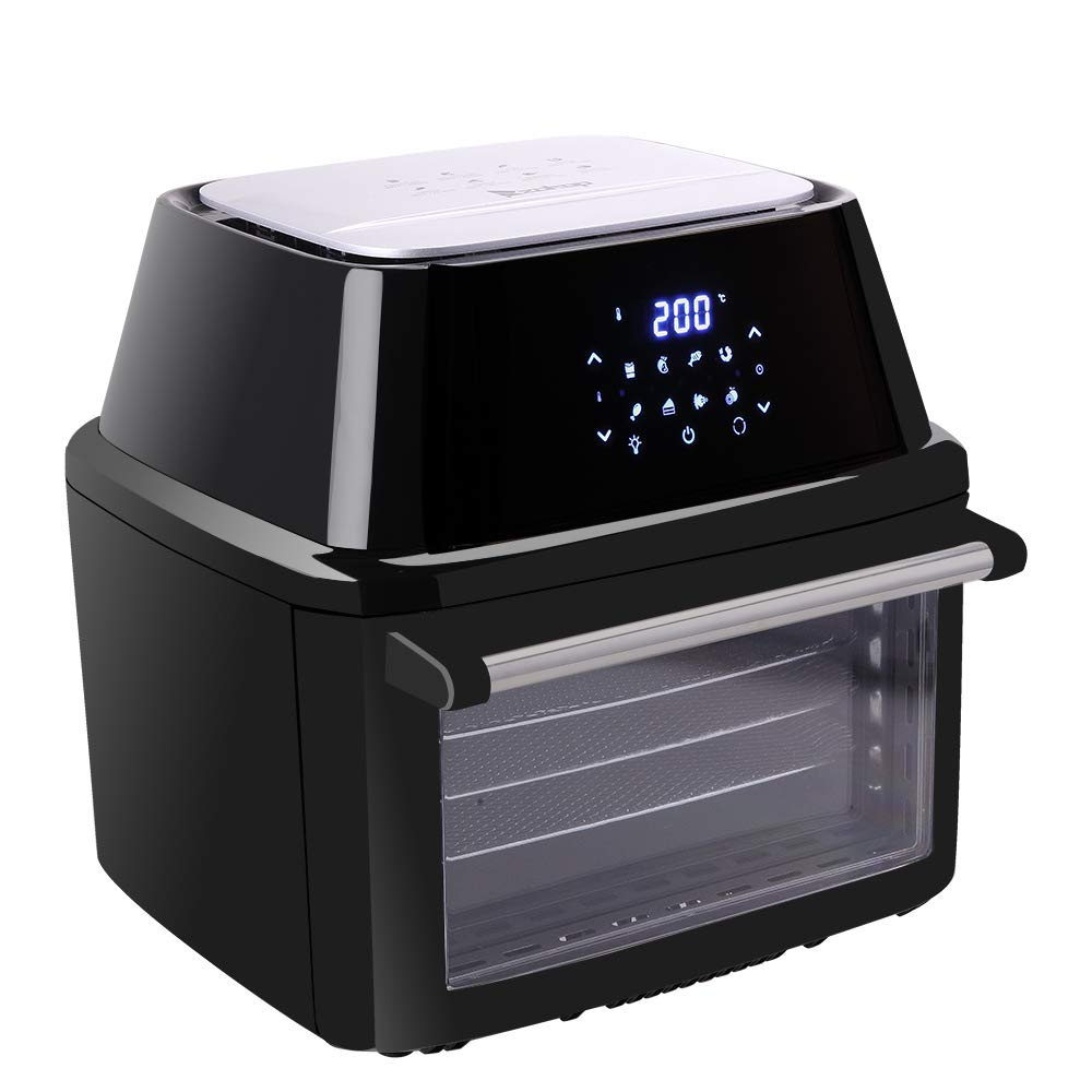 ZOKOP 16.9QT 1800W Digital Air Fryer Rotisserie Dehydrator, Extra Large Family Size Electric Air Fryer Oven, Oilless Cooker, LED Digital Touchscreen, 8 Cooking Preset, Black