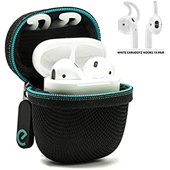 PodPackz AirPods Hard Case with One Pair of AirPods Hooks for Apple AirPods (Black Case + White Hooks)