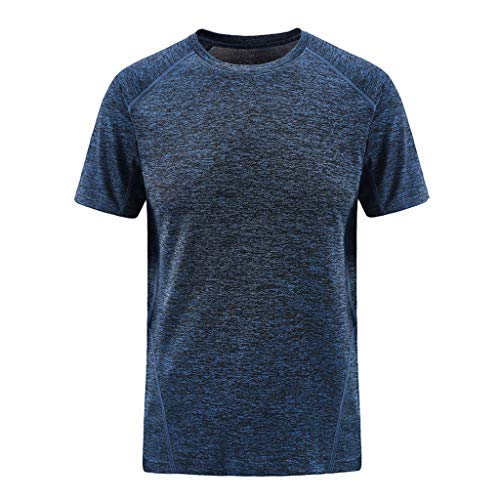 - iHPH7 T-Shirt Men Classic Fit O-Neck T-Shirt Men Summer Casual O-Neck T-Shirt Fitness Sport Fast-Dry Breathable Top Blouse XXL Dark Blue