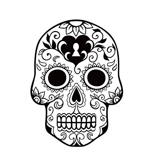 Shalleen Black Flowers Skull Head Removable Decal Room Wall Sticker Home Vinyl Art (Toy Story Abc Family Halloween)