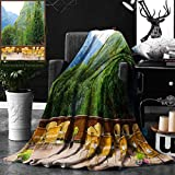 Unique Custom Double Sides Print Flannel Blankets Travel Decor Tables And Chairs Of Outdoor Restaurant In Norway Mountains Nature Gr Super Soft Blanketry for Bed Couch, Throw Blanket 50 x 70 Inches