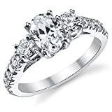 1.00 Carat Oval Sterling Silver 925 Engagement Wedding Ring With Cubic Zirconia Size 9