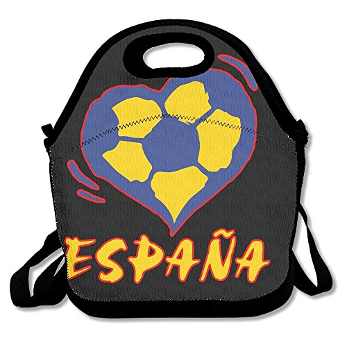 GUFJIDSS Spain Soccer Heart Love Lunch Tote Insulated Reusable Picnic Lunch Bags Boxes For Men Women Adults Kids Toddler Nurses by GUFJIDSS