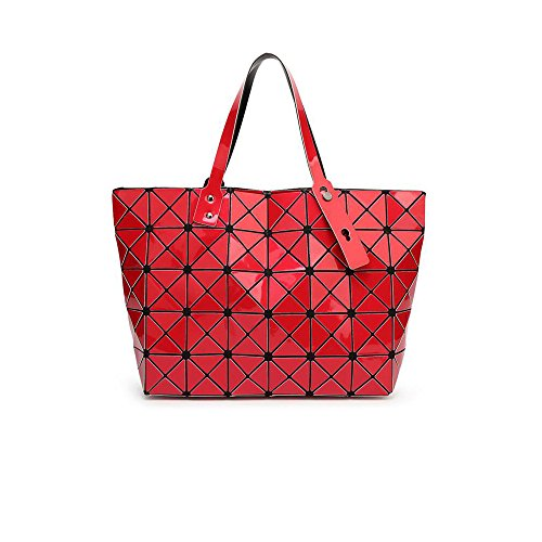 Osye Pu Rhombus Grid Metallic Color Tote Bag Quilted Shoulder Bags (red)