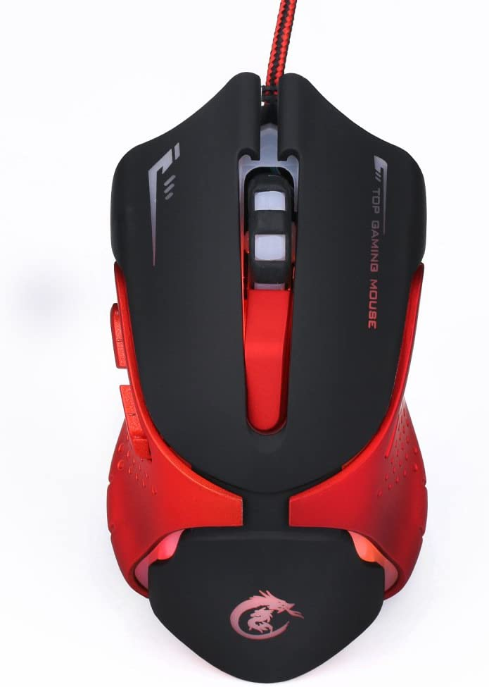 Colorful Glowing Gaming Mouse 1200//1600//2400//3200DPI BAIYI Gaming Mouse Suitable for Games and Work,Black ABS Material