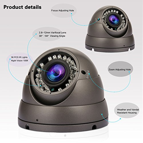 Anpviz Security Camera HD 1080P 4-in-1 (TVI/AHD/CVI/960H CVBS) Security Dome Camera, 2.8mm-12mm Varifocal Lens Analog Video Surveillance, Day & Night Indoor Outdoor Waterproof with 100ft Cables