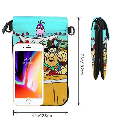 Flintstenar telefon handväska kvinnors crossbody handväskor lätta väskor kvinnor handväska läder mobiltelefon hölster plånbok fodral