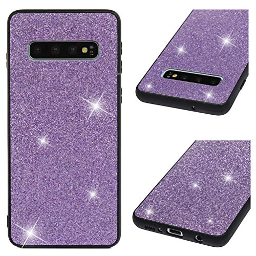 Galaxy S10 Case, Bling Shiny Glitter Sparkle 2 in 1 Armor Case Hybrid Rugged Heavy Duty Shock Absorbtion Drop Resistant Soft TPU Bumper Hard PC Shell Slim Fit Skin Cover for Samsung Galaxy S10 Purple