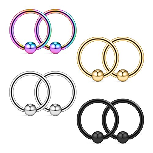 Ruifan 8PCS Assorted Colors Surgical Steel Captive Bead Rings Nose Belly Eyebrow Tragus Lip Ear Nipple Hoop Ring BCR 16G 8MM