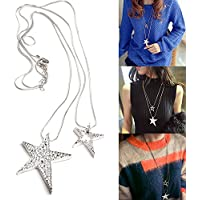 Jaywine2 Fashion Lady Women Necklace Double Chains Star Pendent Double Layered Long Chain