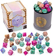 Cup of Illusion: 5 Complete Sets of 7 Premium Two-Color Swirl Polyhedral Role Playing Gaming Dice for Tabletop