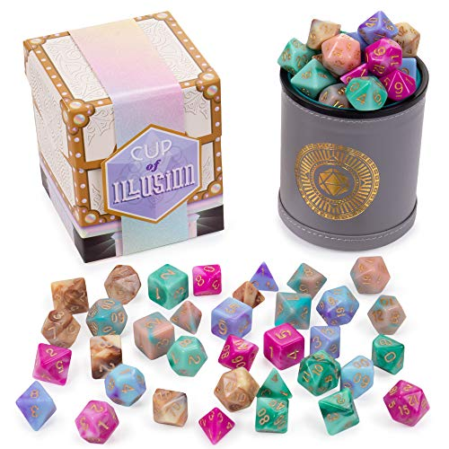 Cup of Illusion: 5 Complete Sets of 7 Premium Two-Color Swirl Polyhedral Role Playing Gaming Dice for Tabletop RPGs | Includes Grey Leather Dice Cup Accessory