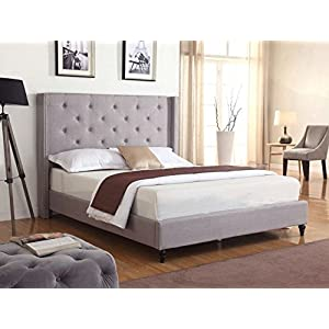 Home Life Premiere Classics Cloth Light Grey Silver Linen 51″ Tall Headboard Platform Bed with Slats – Complete Bed 5 Year Warranty Included 007