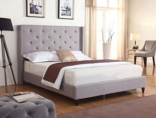 "Home Life Premiere Classics Cloth Light Grey Silver Linen 51"" Tall Headboard Platform Bed with Slats King- Complete Bed 5 Year Warranty Included-007"