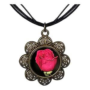Chicforest Bronze Retro Style Red Rose Sun Flower Pendant