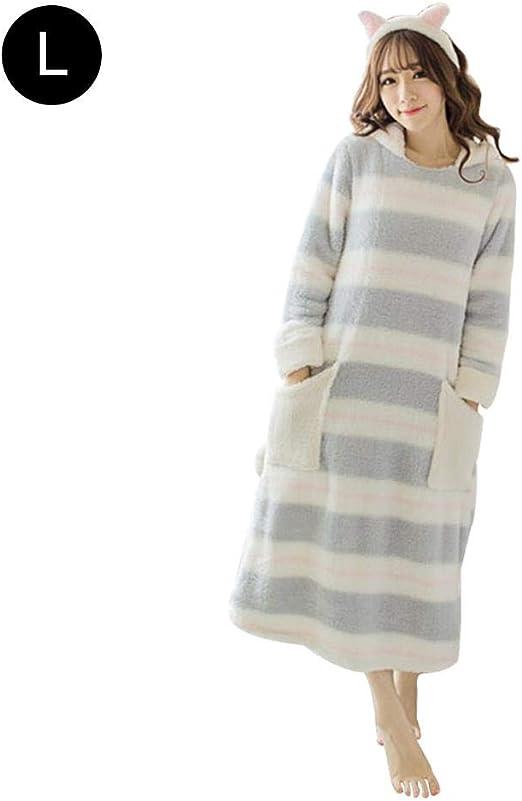 Bloomma Camisa de Dormir de Franela , Vestido de Noche de Manga Larga para Mujer Ropa de Dormir de camisón Pijama Engrosado: Amazon.es: Hogar