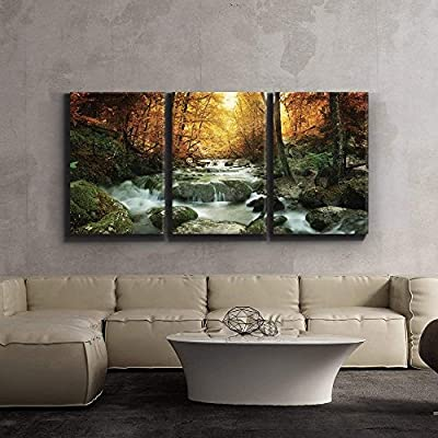 Forest Waterfall Scene Wall Decor x3 Panels, Made For You, Grand Artisanship