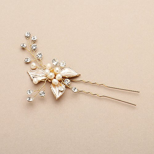 Mariell Handmade Gold Bridal Hair Pin Stick - Silvery Gold Leaves, Freshwater Pearls & Crystal Sprays