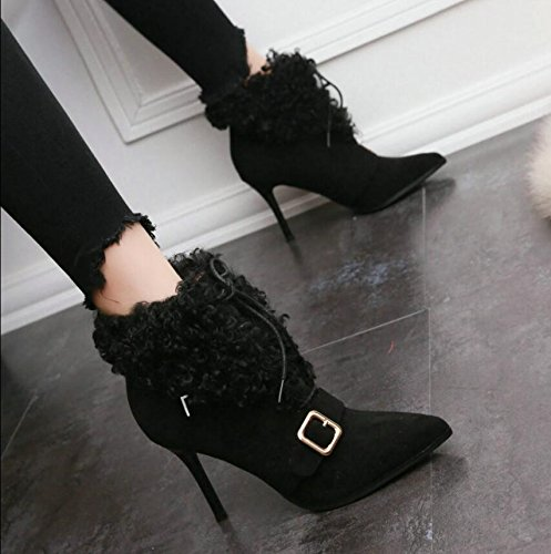 HGTYU-Plush Buckles And Ankle Boots Fine With The Tip Of A Tether Strap Boots Tide Bare Boots 39 Bv6A4PPacZ