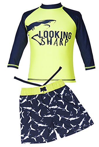 Price comparison product image Sharp Boat Long-Sleeve Rash Guard Swim Shirt Swimsuit and Trunk Set for Baby Boys' 2T