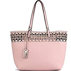 JOYSON Women Handbags PU Leather Tote Bags 2 Pieces Set Purse Top-Handle Pink