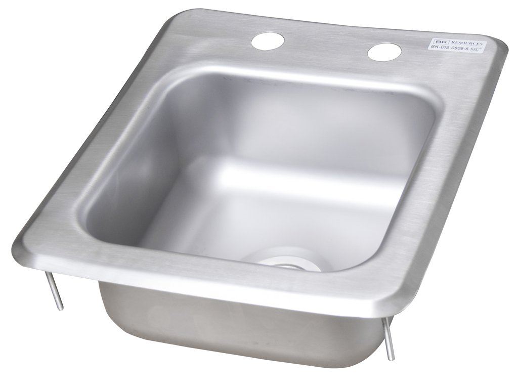 BK Resources BK-DIS-0909-5 Stainless Steel 1 Compartment Drop in Sink with 9'' x 9'' x 5'' Bowl, 5'' Height, 14'' Width, 12'' Length