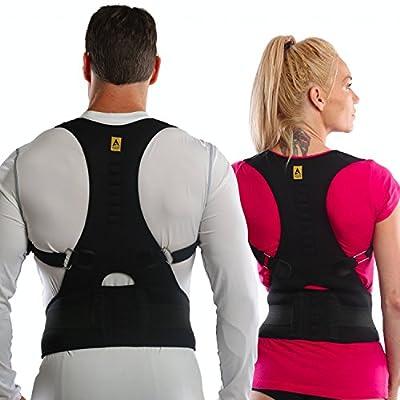 Agon® Thoracic Back Brace Posture Corrector - Magnetic Support for Back Neck Shoulder Upper Back Pain Relief Perfect Product for Cervical Spine Fully Adjustable with Magnets