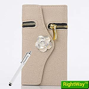 Rightway Samsung Galaxy Note3 N9000 Case Flip Stand Concealed Metal Zipper Wallet PU Leather Beautiful Camellia Button Khaki