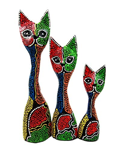 Ky & Co YK Balinese Wood Handicrafts Abstract Colorful Feline Cat Family Set of 3 Figurines