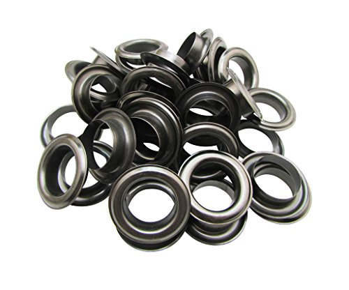 Amanaote 22mm Internal Hole Diameter Gun Black Eyelets Grommets with Washer Self Backing Pack of 20 Sets