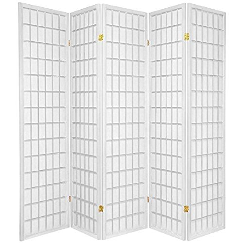 5 Panel Room Divider - White (Room Divider Square Wood)