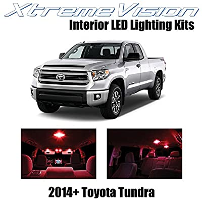 XtremeVision Interior LED for Toyota Tundra 2014+ (14 Pieces) Red Interior LED Kit + Installation Tool: Automotive