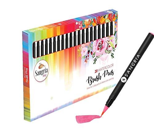 Sangria Pens - Watercolor Brush Pens Real Brush Tips, Brush Pens Pack of 20 + 1 Aqua Brush (Set of 20) - 100% Nontoxic Markers, Portable Storage Case & Multiple Color