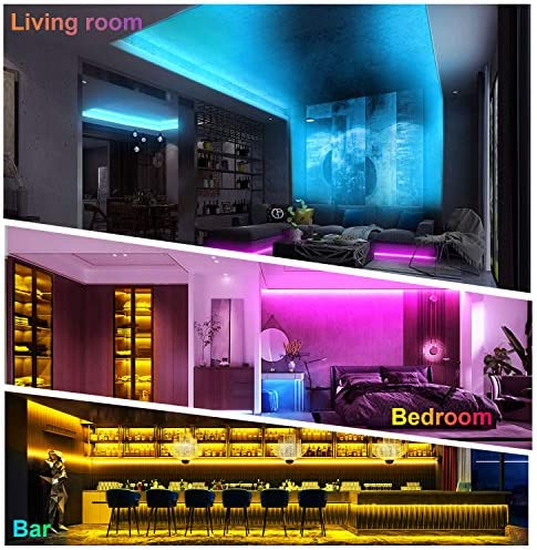 40 Feet Led Strip Lights, ViLSOM Smart APP Control with Remote Music Sync Led Lights for Bedroom, Room, Ceiling, Party, Home Decoration with SMD 5050LED 16 Million Colors RGB Light Strip Bias Lighting