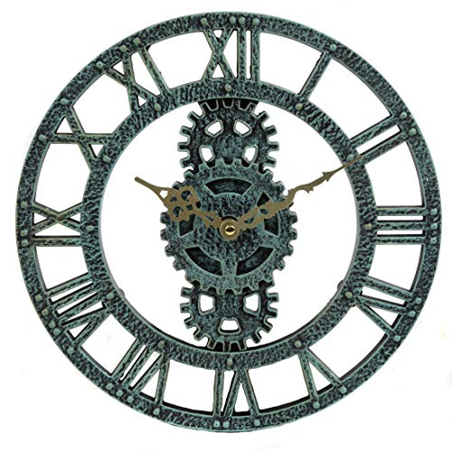 Lily's Home Hanging Wall Clock, Steampunk Gear and Cog Design, Ideal for Indoor or Outdoor Use, Poly-Resin, 12 Inches Diameter (Pewter) ()