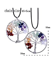 365Cor(TM) (Gift to best friends) Handmade Life Tree Pendant Heart Shape 7 Chakra Natural Stone Chips Rainbow Quartz Crystal Necklaces For Women Men