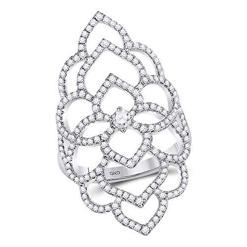 (Jewels By Lux 18kt White Gold Womens Round Diamond Flower Petals Knuckle Fashion Ring 3/4 Cttw In Prong Setting (SI3 clarity; G-H color) Ring Size 7)