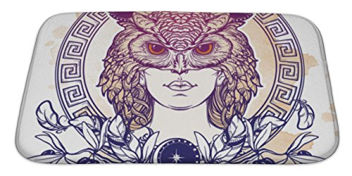 Gear New Bath Mat For Bathroom, Memory Foam Non Slip, Athena Goddess Of Ancient Greek Myths Beautiful Woman In An Owl Mask Owl As A, 34x21, (Ornate Roman Tub Set)