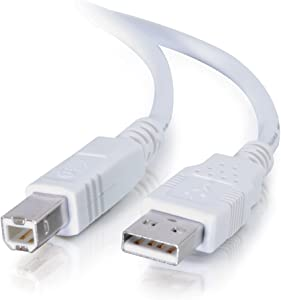 C2G 13171 USB Cable - USB 2.0 A Male to B Male Cable for Printers, Scanners, Brother, Canon, Dell, Epson, HP and more, White (3.3 Feet, 1 Meter)